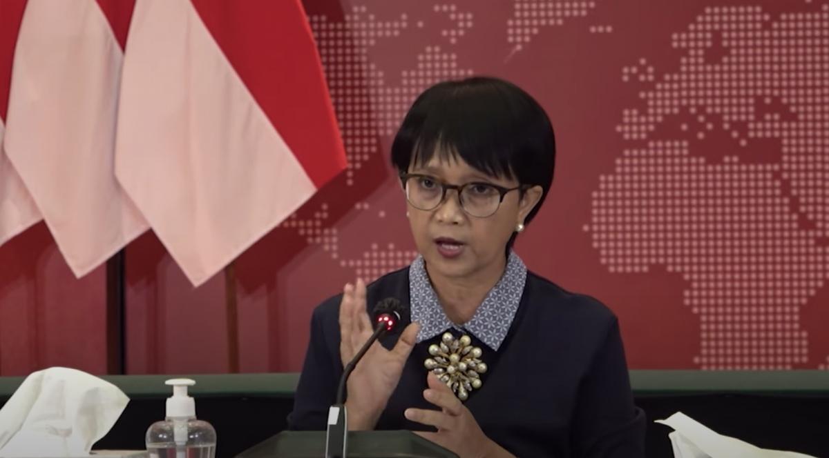 Ngoại trưởng Indonesia, bà Retno Marsudi tại buổi họp báo.