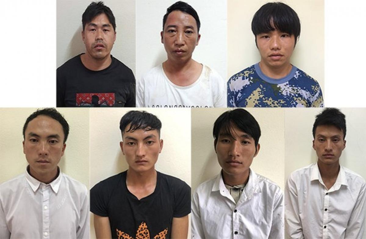 7 đối tượng bị bắt giữ (ảnh: Công an Lào Cai)
