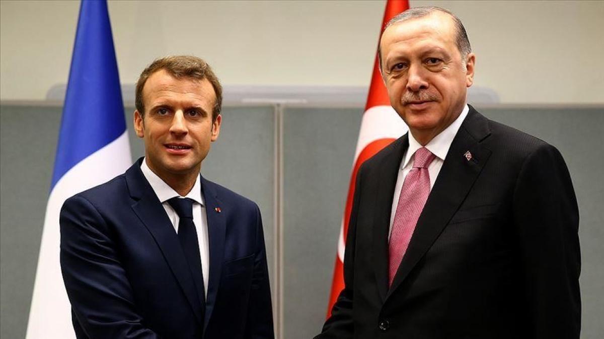 Tổng thống Pháp Macron và Tổng thống Thổ Nhĩ Kỳ Erdogan. Ảnh: Anadolu