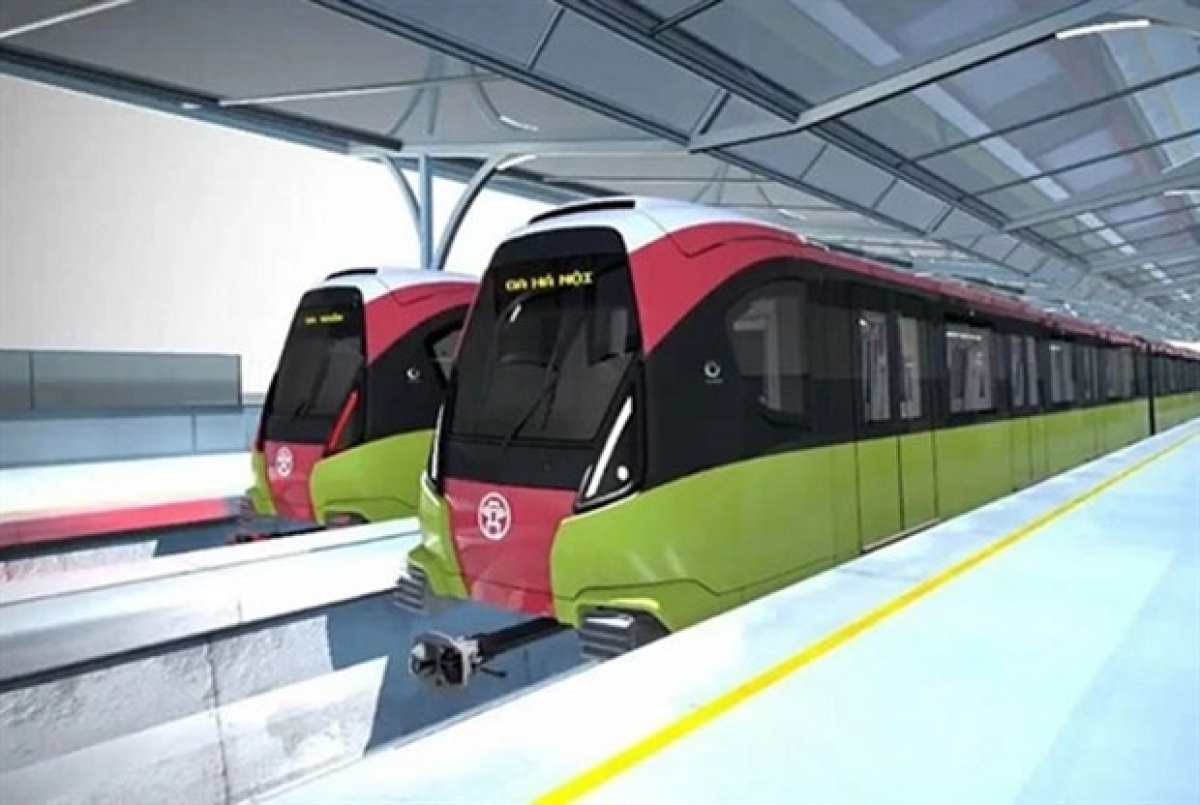 The train design for Hanoi's metro line No 3 connecting Hanoi Railway Station to Hoang Mai district and line No 5 from Van Cao to Hoa Lac. (Photo: nhandan)