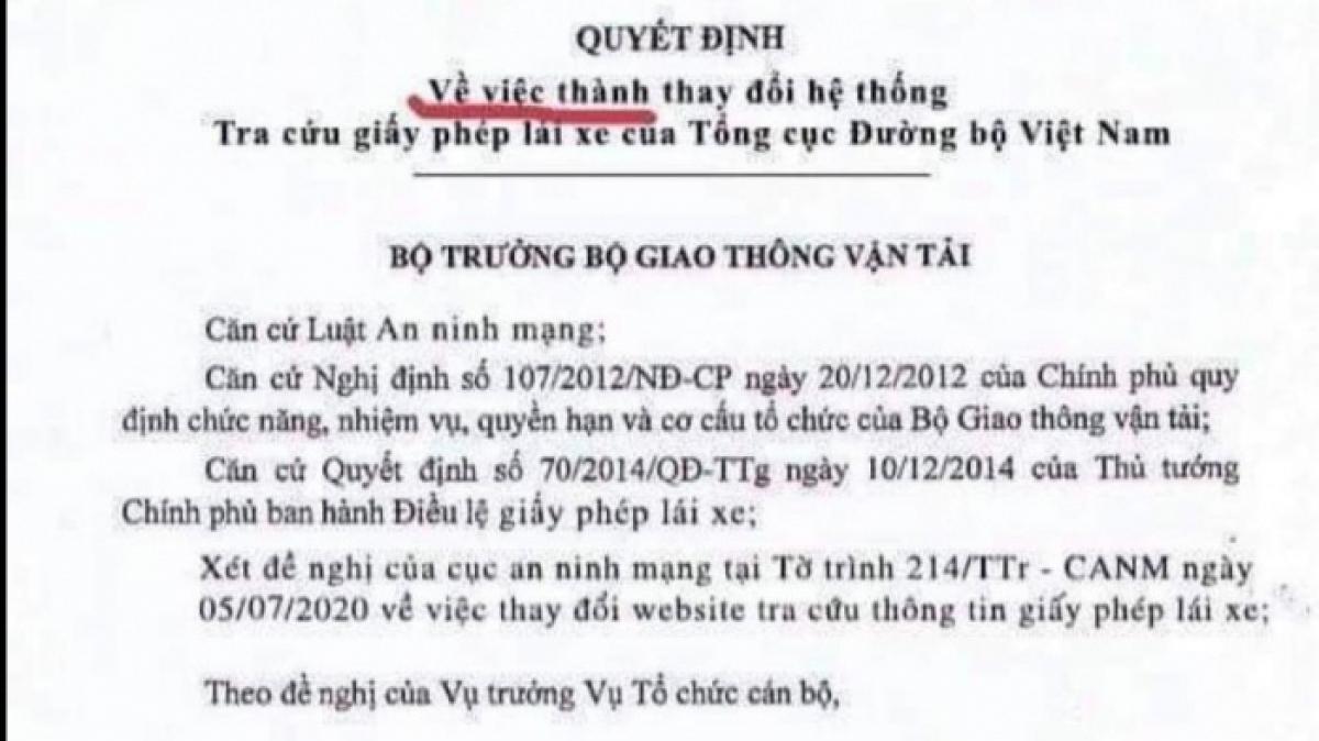 Quyết định giả của Bộ GTVTvề việc thay đổi hệ thống tra cứu GPLX của Tổng cục Đường bộ Việt Nam.