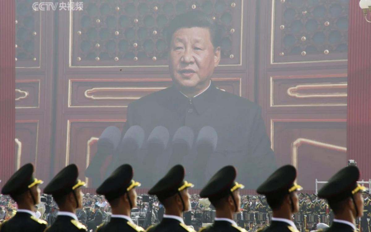 Hình ảnh Chủ tịch Trung Quốc Tập Cận Bình trên màn chiếu tại một sự kiện của nước này. Ảnh: Reuters.