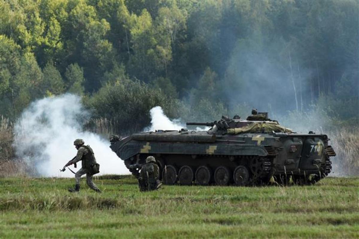 Một cuộc tập trận của binh sĩ Ukraine. Ảnh: AFP