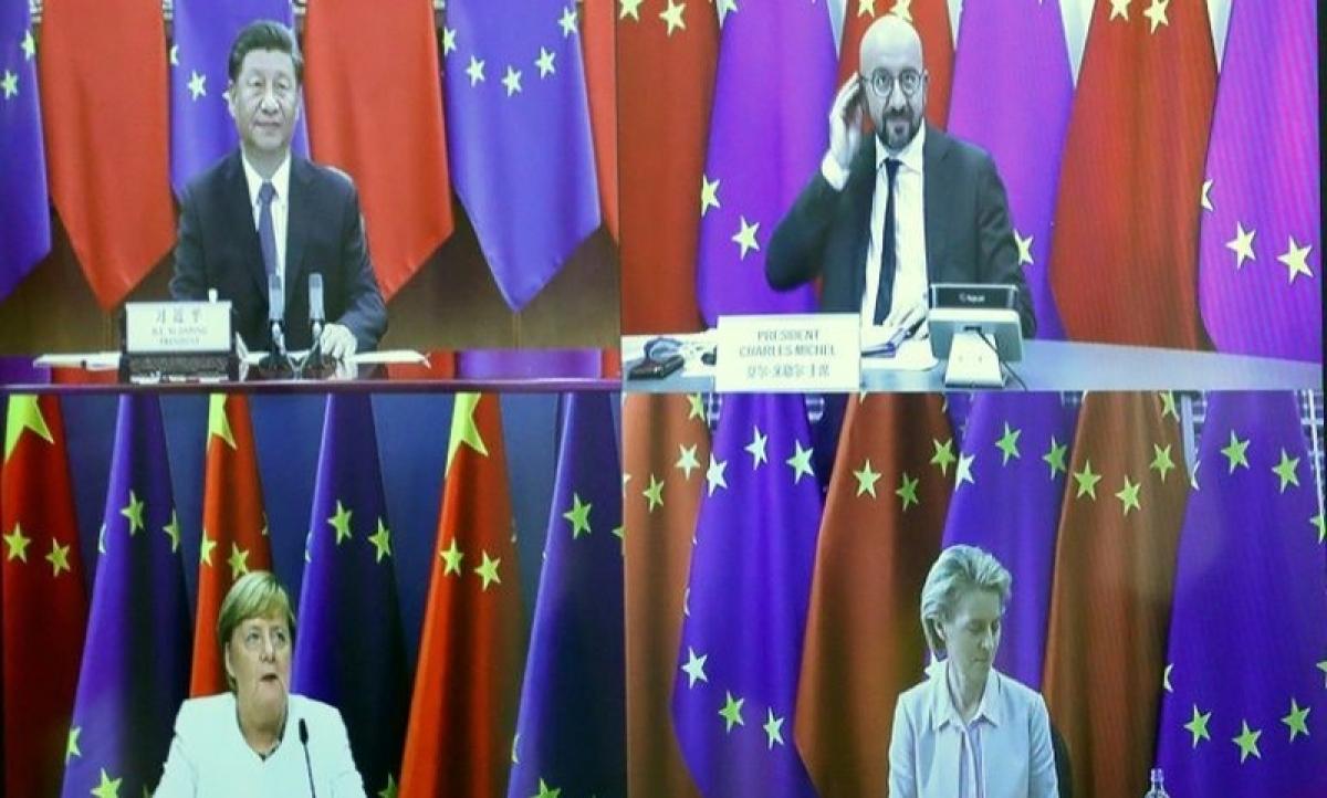 Lãnh đạo EU-Trung Quốc họp thượng đỉnh trực tuyến. Ảnh: Yahoo