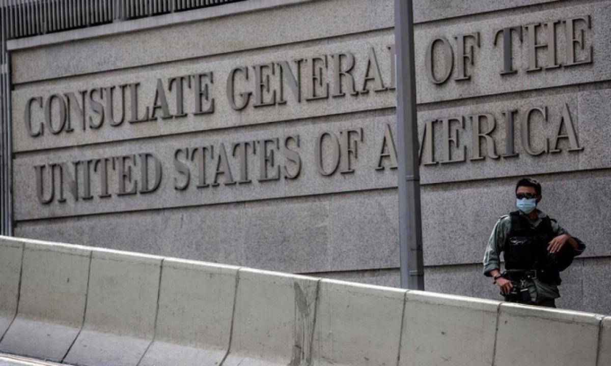 Tổng lãnh sự quán Mỹ cho Hong Kong và Macau nằm tại khu Central của Hong Kong. Ảnh:AFP.