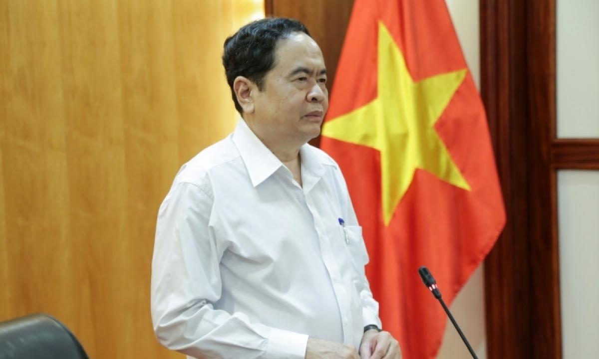 Chủ tịch UBTƯ MTTQ Việt Nam Trần Thanh Mẫn phát biểu tại cuộc họp.