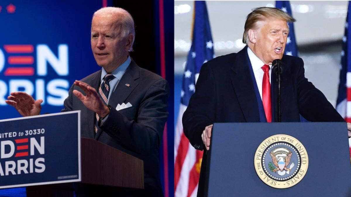 Ông Biden dẫn trước ông Trump 10 điểm trong hai cuộc thăm dò dư luận trước bầu cử. Ảnh: Getty