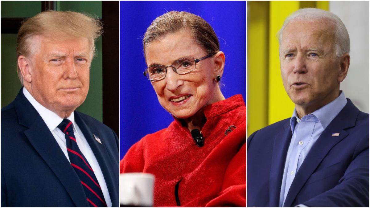 Tổng thống Trump, Thẩm phán Ginsburg và ứng viên Joe Biden. Ảnh: Reuters