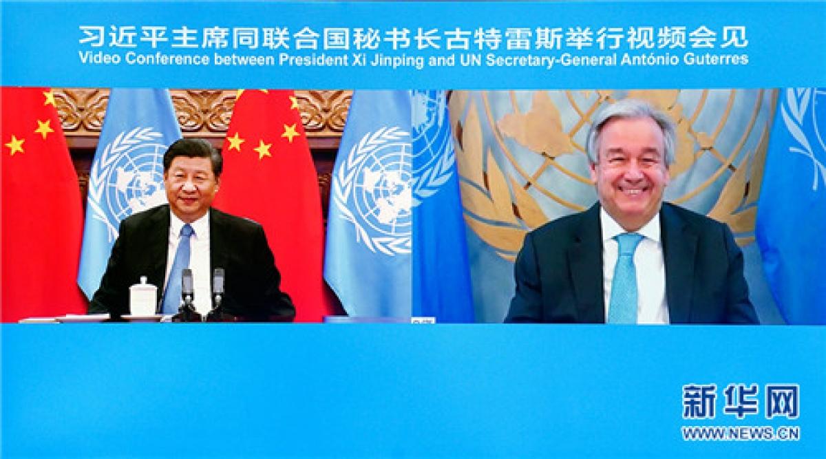 Cuộc gặp trực tuyến giữa lãnh đạo Trung Quốc và người đứng đầu Liên Hợp Quốc. Ảnh: Tân Hoa xã.