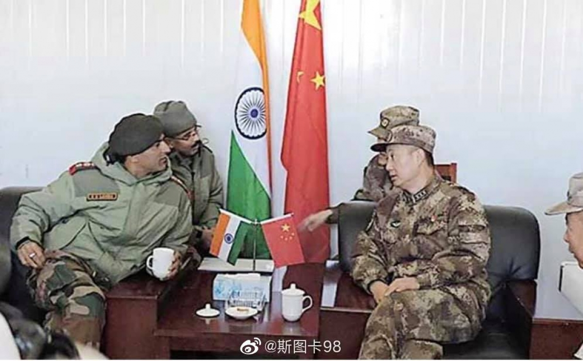 Đàm phán lần thứ 6 cấp Tư lệnh quân đoàn giữa Trung Quốc và Ấn Độ. Nguồn Mạng Weibo.
