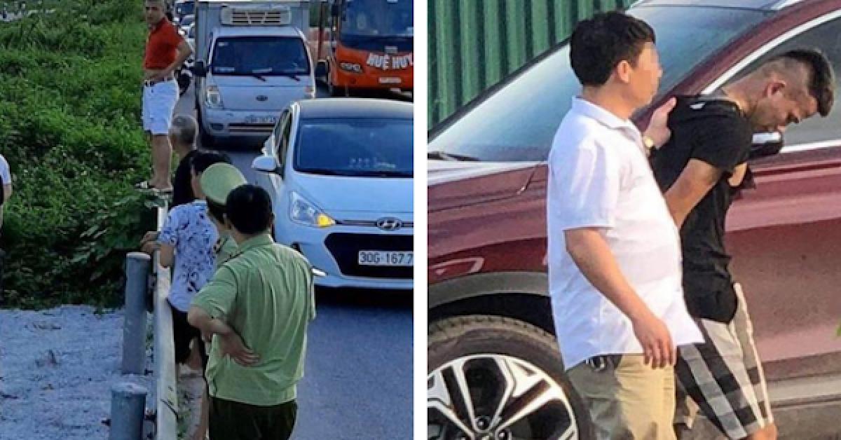 Hiện trường vụ lái xe 16 chỗ đâm hất chiến sĩ cảnh sát cơ động Nguyễn Văn Mạnh khiến anh tử vong.