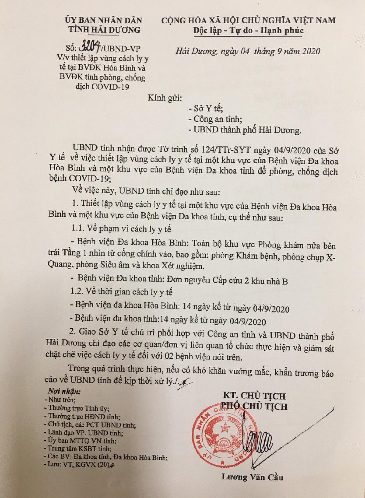 Công văn của UBND tỉnh Hải Dương về việc thiết lập thêm vùng cách ly y tế tại Bệnh viện đa khoa Hoà Bình và Bệnh viện Đa khoa tỉnh.