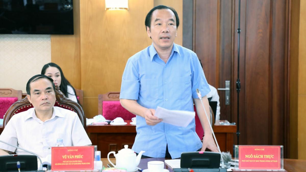 Ông Ngô Sách Thực, Phó Chủ tịch Ủy ban Trung ương MTTQ Việt Nam.