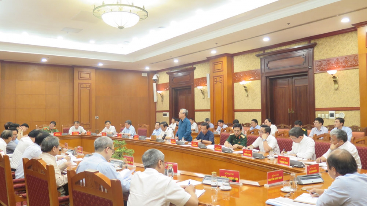 Toàn cảnh phiên họp Tiểu ban tổ chức phục vụ Đại hội XIII của Đảng