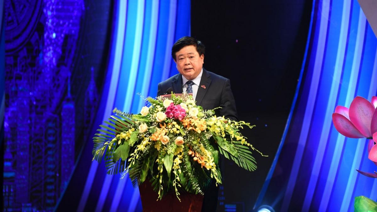 Tổng Giám đốc Đài TNVN Nguyễn Thế Kỷ phát biểu tại Lễ kỷ niệm.