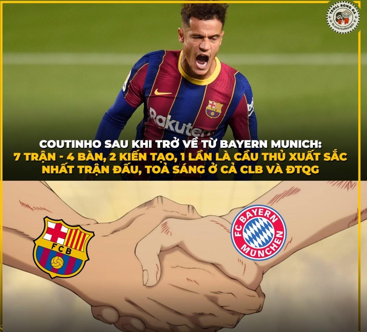 Coutinho là chính mình khi trở lại Barca sau thời gian khoác áo Bayern theo dạng cho mượn. (Ảnh: Troll bóng đá).
