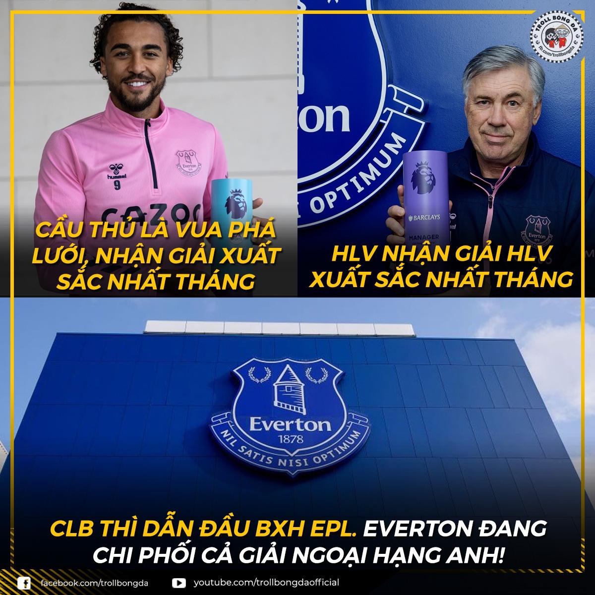 Everton khởi đầu hoàn hảo ở Premier League mùa này. (Ảnh: Troll Bóng Đá)