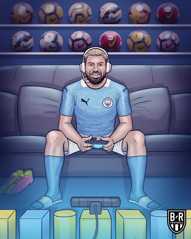 Không lên tuyển Argentina, Sergio Aguero làm streamer trong lúc chờ Premier League trở lại. (Ảnh: Bleacher Reports)