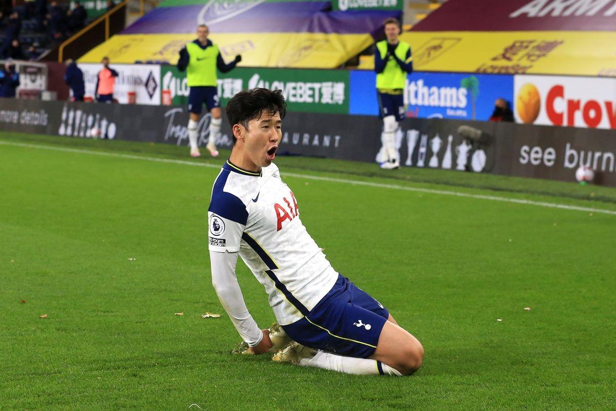 Son Heung Min ghi bàn duy nhất giúp Tottenham hạ Burnley. (Ảnh: Getty).