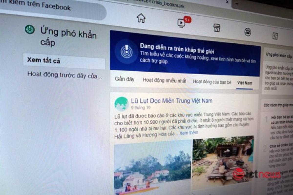 Facebook cho phép người dùng kiểm tra trạng thái an toàn của bạn bè thông qua mục Ứng phó khẩn cấp.