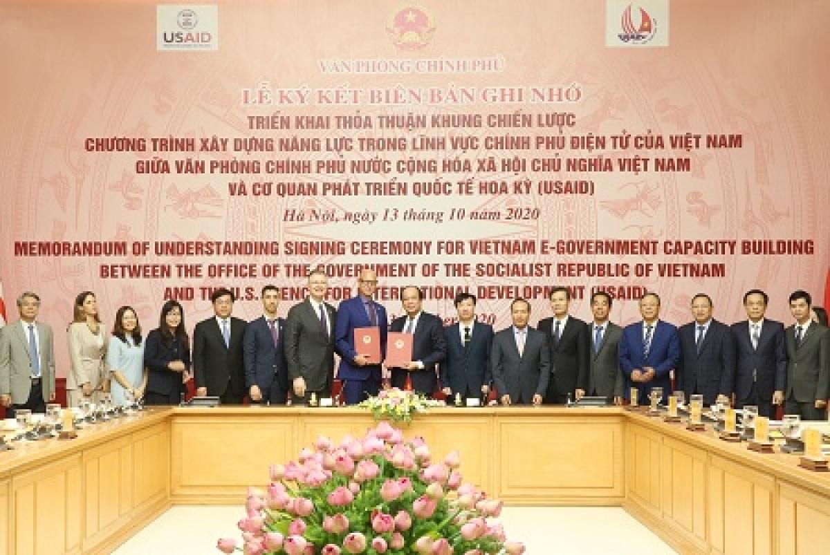 Văn phòng Chính phủ và USAID ký kết biên bản ghi nhớ triển khai thỏa thuận khung chiến lược về chương trình xây dựng năng lực trong lĩnh vực chính phủ điện tử của Việt Nam - Ảnh: VGP/Hoàng Giang