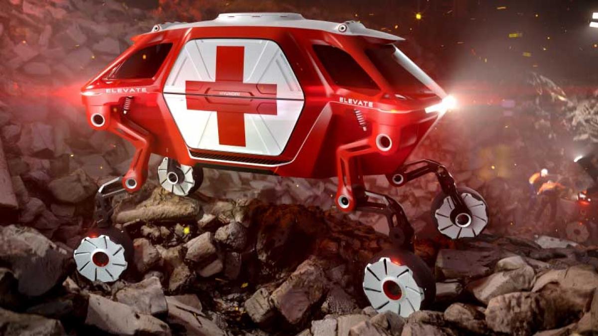 Chức năng định vị chính xác khi đi vào những địa hình khó khăn của phương tiện di chuyển tối thượng Hyundai Elevate (UMV) mang tới sự chắc chắn và linh hoạt cần có trong những tình huống cứu hộ, chẳng hạn như sau động đất. Hình ảnh được cung cấp bởi Hyundai.