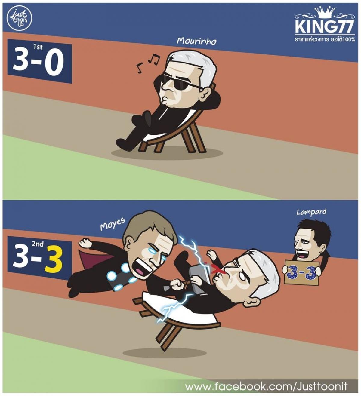 HLV Mourinho ung dung trong hiệp 1, nhưng cay đắng trong hiệp 2.