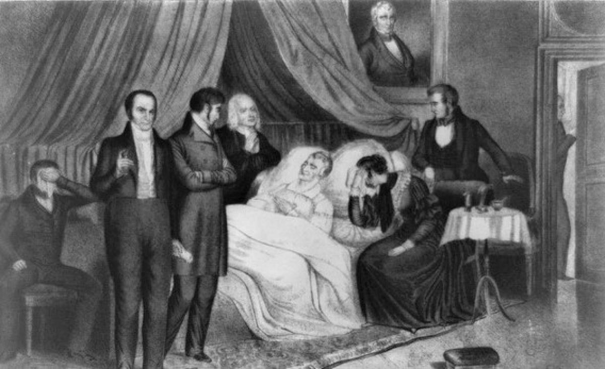 Tổng thống William Harrison trên giường bệnh; Nguồn: Internet