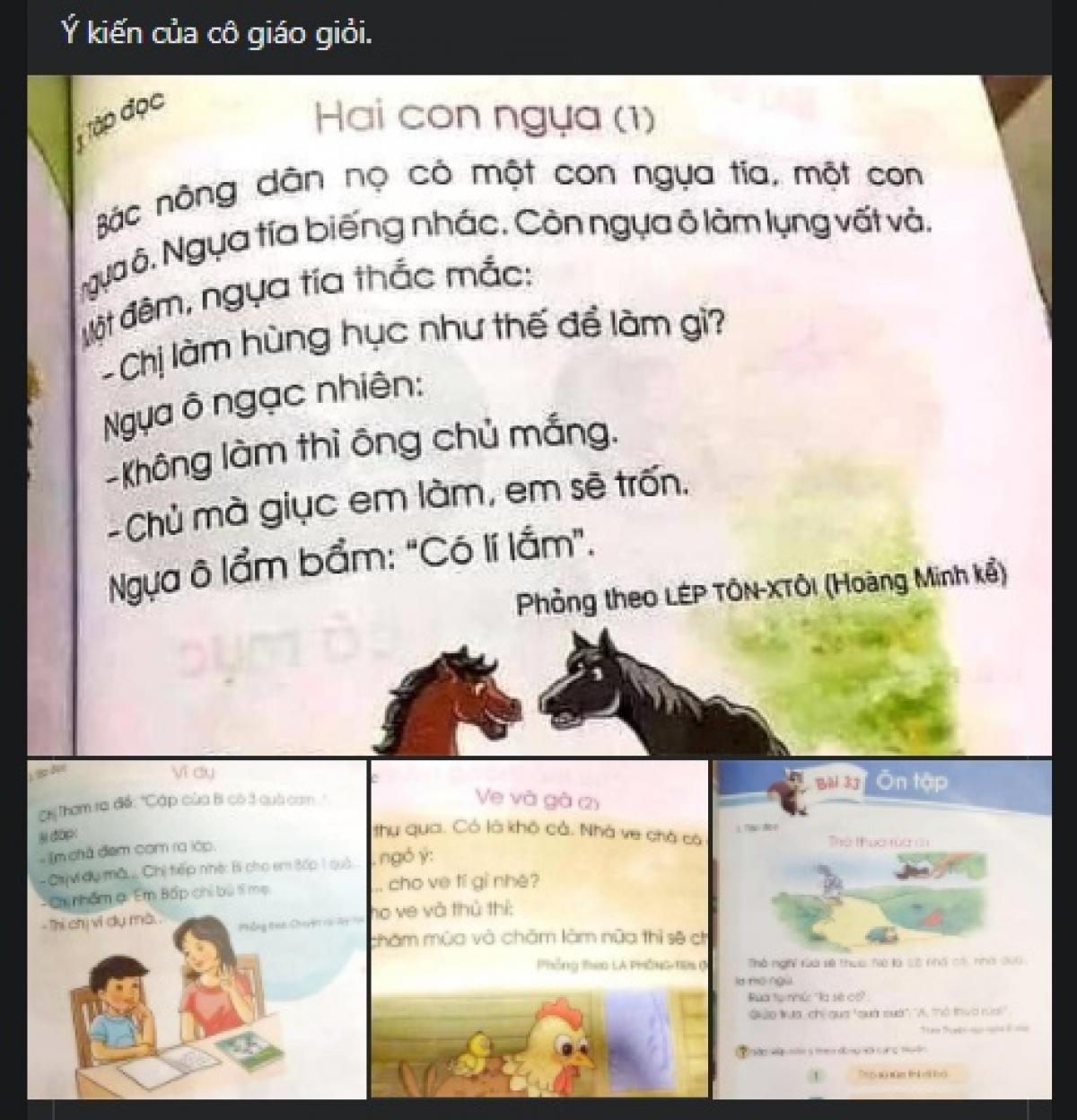 Những phần nội dung trong SGK Tiếng Việt lớp 1 thuộc bộ sách Cánh Diều được cho là không phù hợp với học sinh. (Ảnh chụp màn hình)