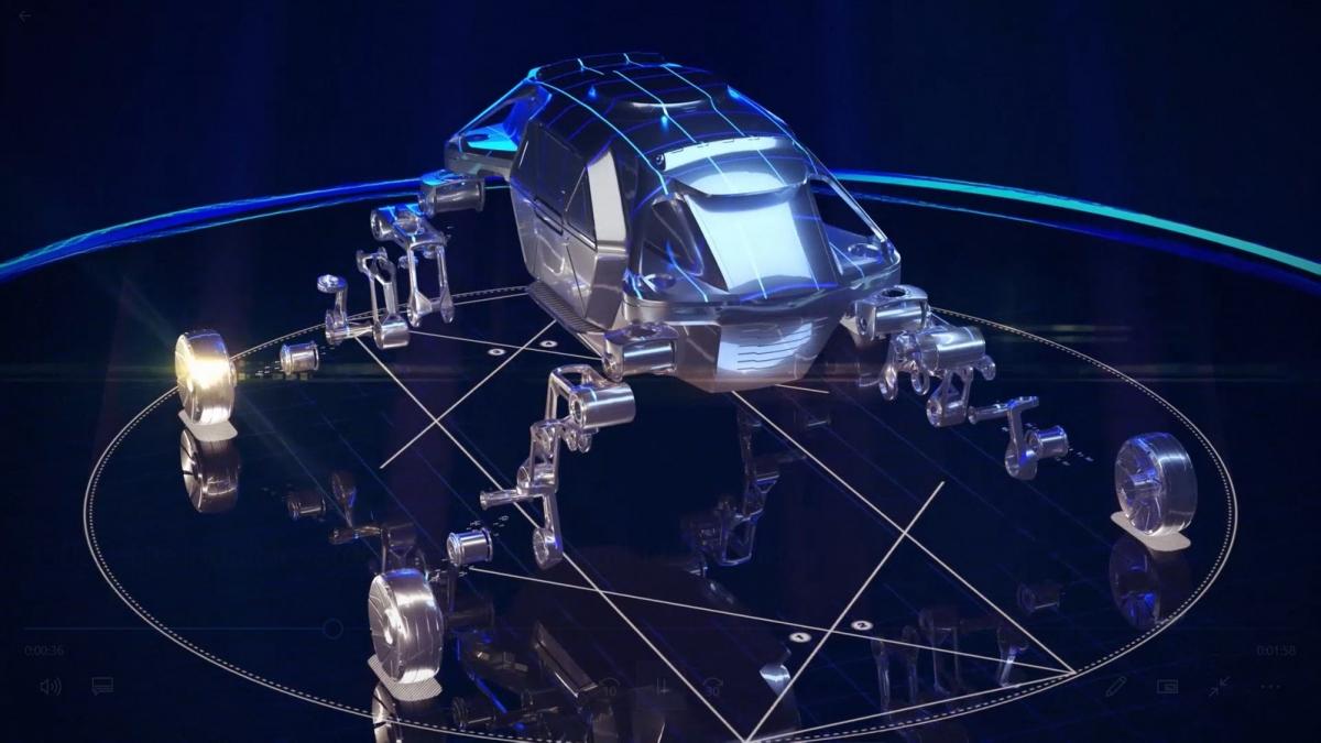 Hình minh hoạ chi tiết của xe Elevate thể hiện các bộ phận giúp nó chuyển đổi từ một chiếc xe lăn bánh thành một chiếc xe đi bộ.