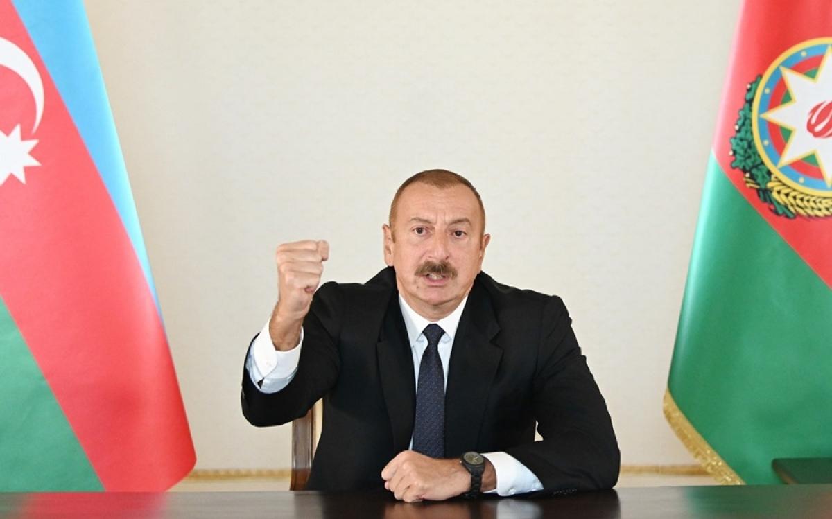 Tổng thống Azerbaijan Ilham Aliyev thể hiện thái độ quyết tâm trong bài phát biểu với toàn nước này vào ngày 27/9/2020. Ảnh: Văn phòng báo chí của Tổng thống Azerbaijan.