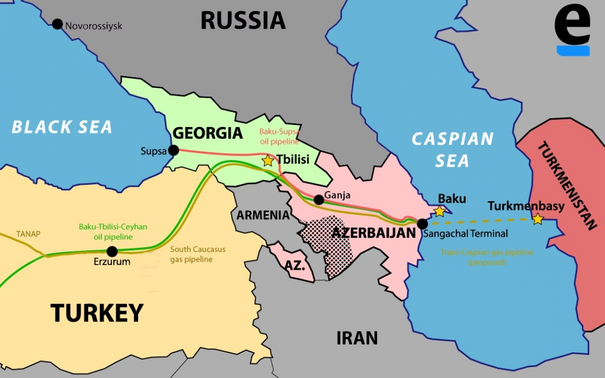 Bản đồ hệ thống đường ống dầu khí từ Azerbaijan sang Gruzia và Thổ Nhĩ Kỳ. Đồ họa: Thomas Blomberg/Eurasianet.