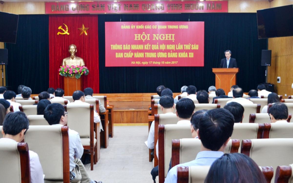 Đảng ủy Khối các cơ quan trung ương tổ chức Hội nghị thông báo kết quả Hội nghị lần thứ 6.