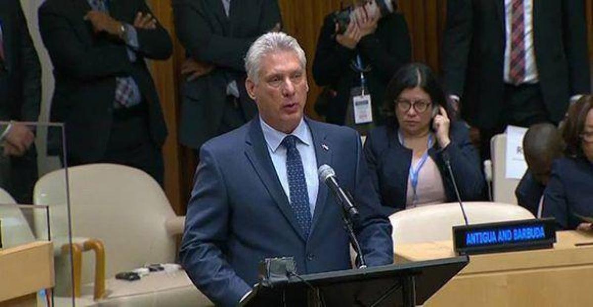 President Miguel Díaz-Canel Bermúdez addresses the UN General Assembly. (Photo: granma.cu).