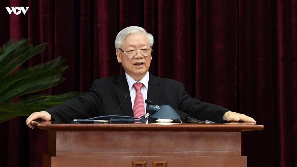 Tổng Bí thư, Chủ tịch nước Nguyễn Phú Trọng phát biểu khai mạc Hội nghị Trung ương 13. Ảnh: Ngọc Thành