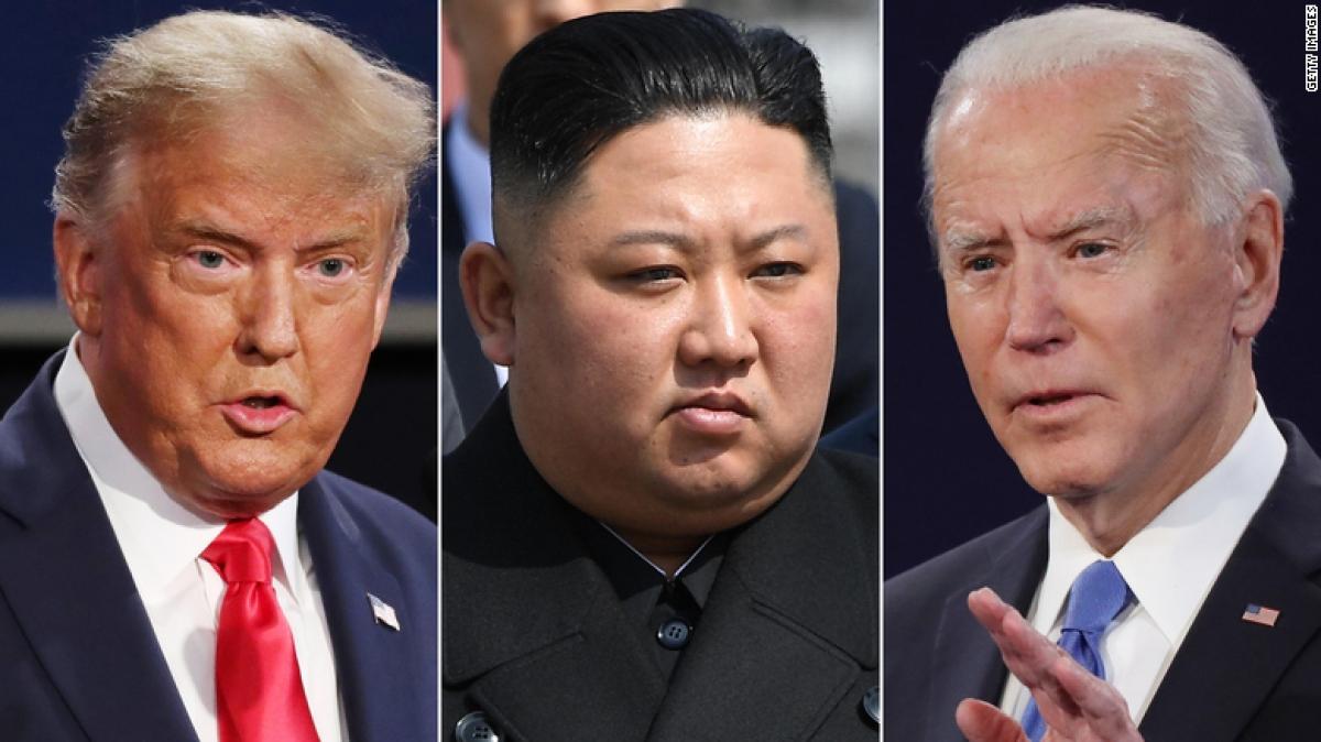 Tổng thống Mỹ Donald Trump, nhà lãnh đạo Triều Tiên Kim Jong Un và ứng viên đảng Dân chủ Joe Biden. Ảnh: CNN