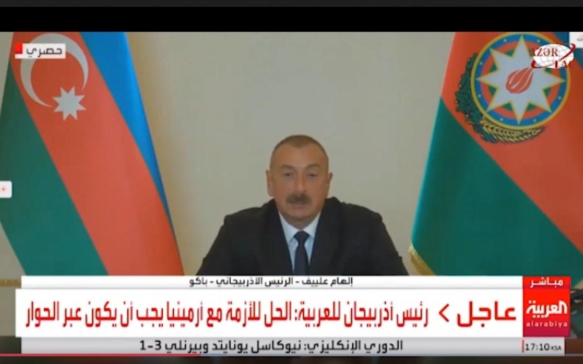 Tổng thống Azerbaijan Ilham Aliyev trả lời phỏng vấn của kênh truyền hìnhAl Arabiya vào đầu tháng 10, về vấn đề xung đột Nagorno-Karabakh. (Nguồn ảnh: Al Arabiya/Azertag)