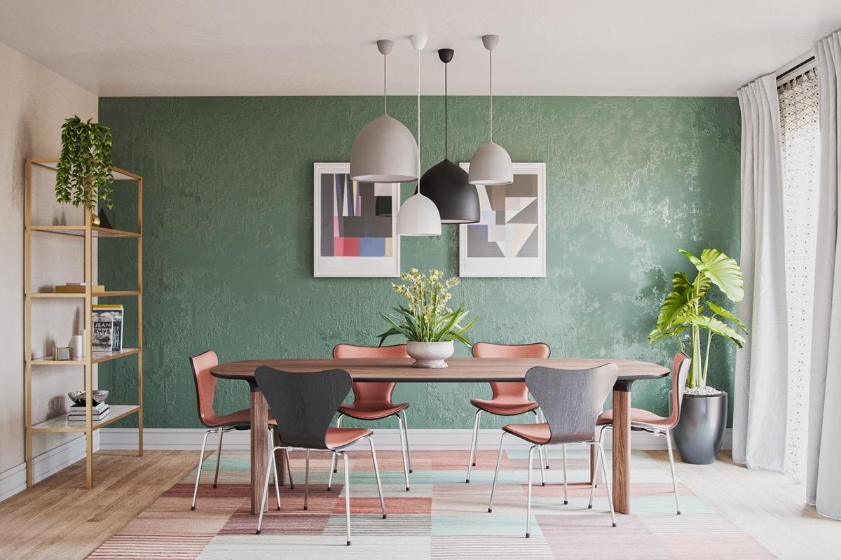 Bức tường màu xanh đậm sẽ là điểm nhấn vô cùng ấn tượng trong phong cách này, đi kèm với những loài cây trang trí.
