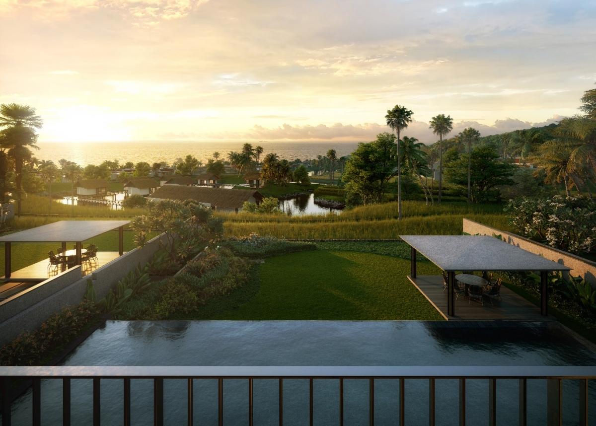 Dinh thự Hill Villa của Park Hyatt Phu Quoc Residences có vị trí lưng tựa núi,mặt hướng biển.