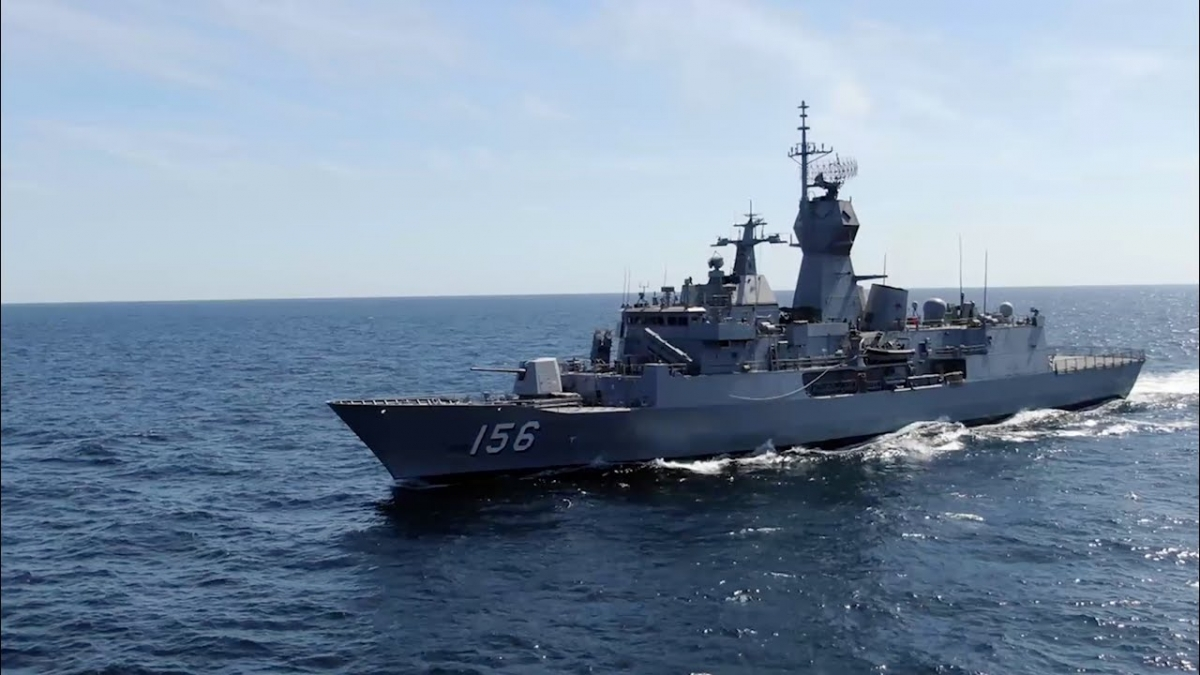 Tàu khu trục HMAS Toowoomba của Hải quân Australia trong một lần thực hiện nhiệm vụ tuần tra tại Trung Đông. Ảnh: Youtube