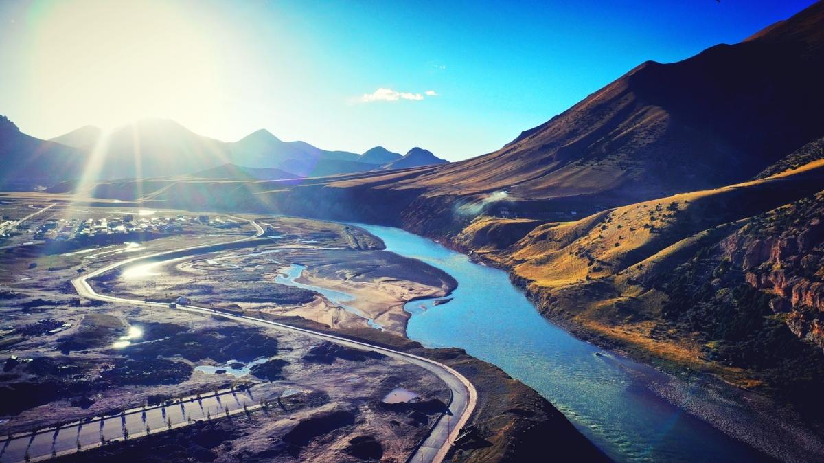 Một đoạn dòng sông Trát Khúc từ trên cao.