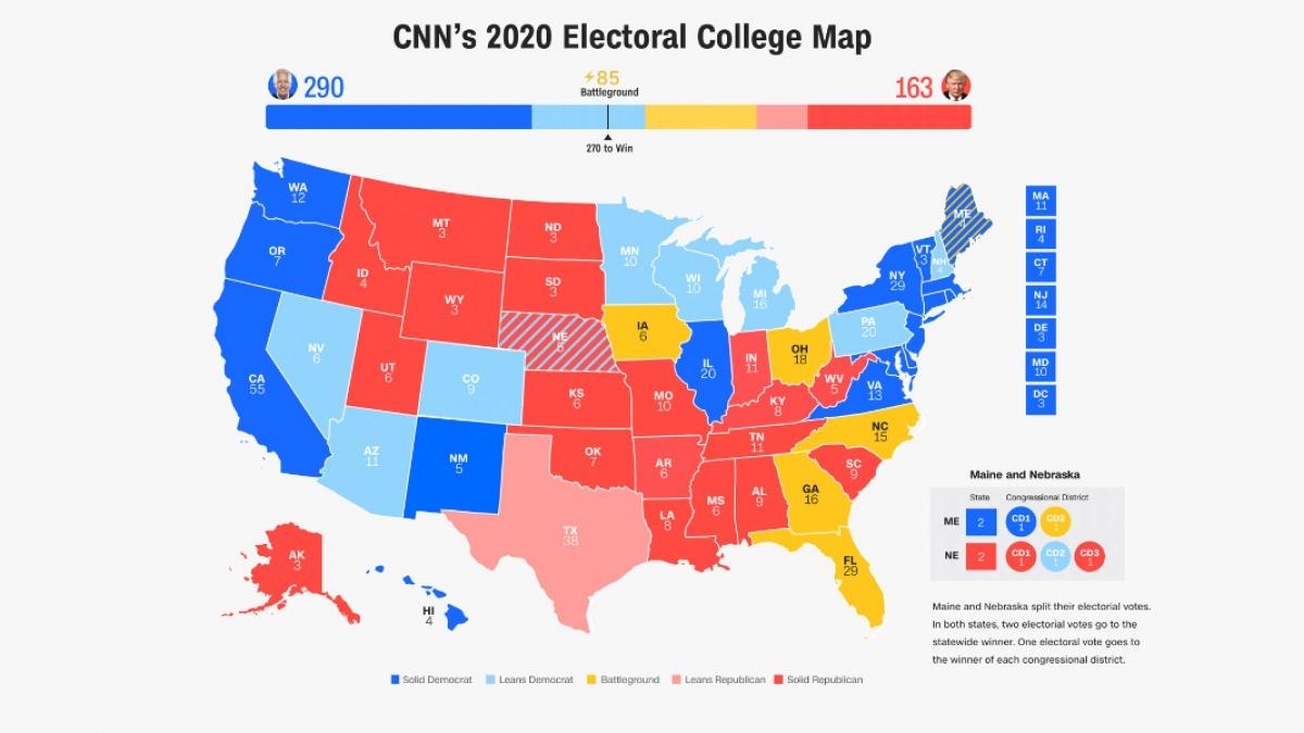 Bản đồ khảo sát đại cử tri của CNN