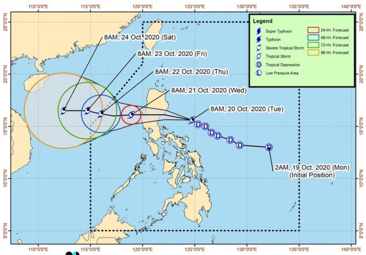 Đường đi dự kiến của bão Saudel. Ảnh:Cơ quan Thiên văn, Địa lý và Khí tượng Philippines