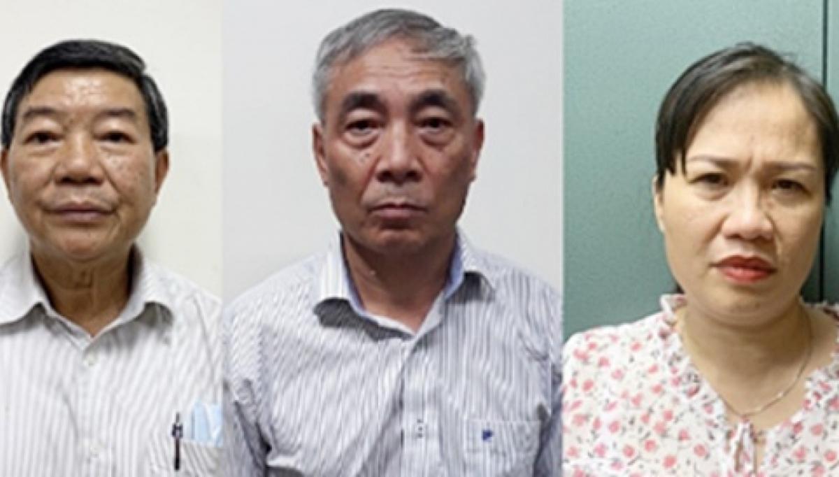 Từ trái qua: Bị can Nguyễn Quốc Anh, Nguyễn Ngọc Hiền, Trịnh Thị Thuận. (Ảnh: Công an cung cấp)