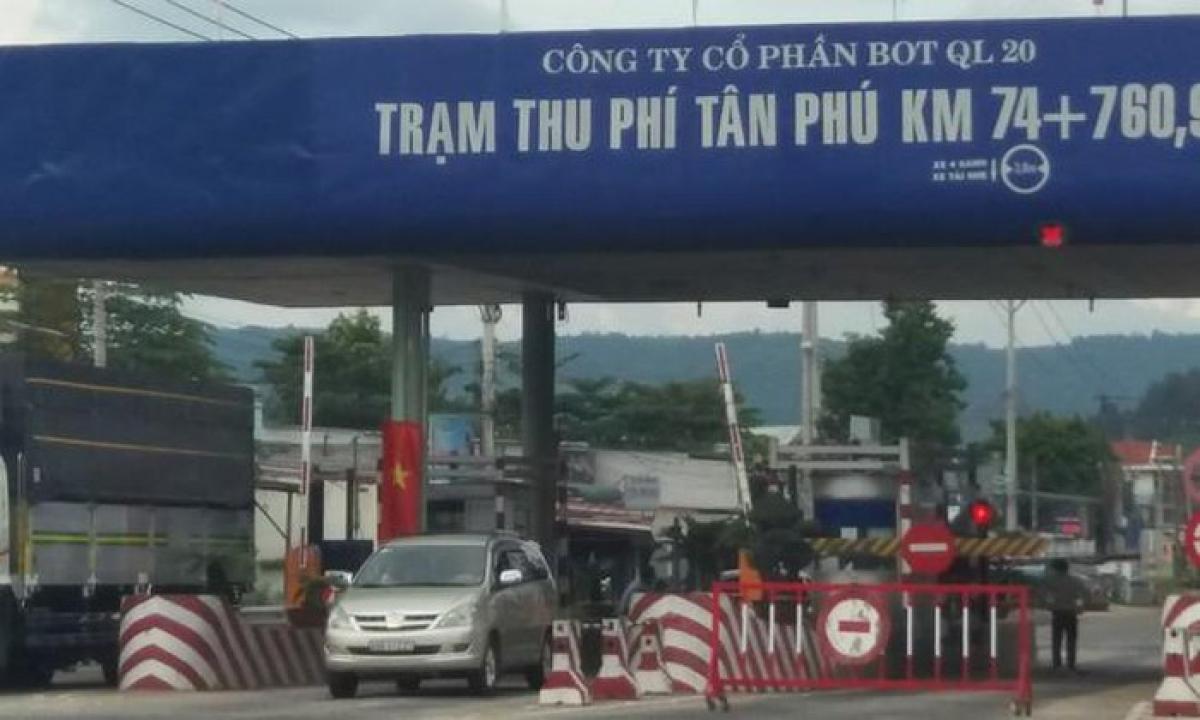 Trạm thu phí Tân Phútrên Quốc lộ 20, nối tỉnh Đồng Nai với Lâm Đồng sẽ dừng thu phí từ 14 giờ ngày 20/10/2020.