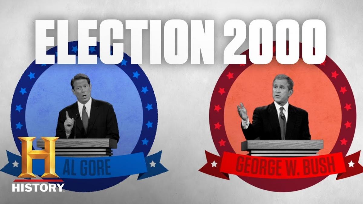 Yếu tố quyết định thắng thua trong cuộc bầu cử tổng thống năm 2000 giữa George W. Bush và Al Gore nằm ở bang chiến địa Florida. Ảnh: History