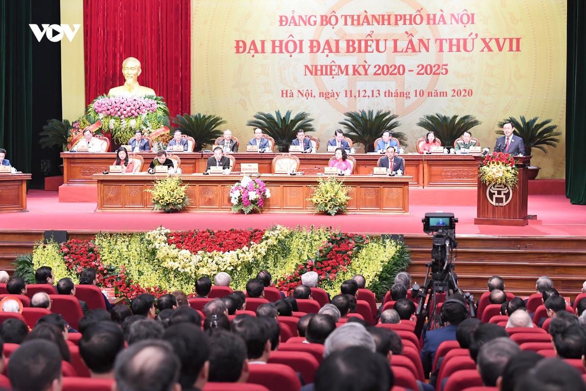 Đại hội đại biểu Đảng bộ Thành phố Hà Nội chính thức khai mạc sáng 12/10. Ảnh: Ngọc Thành