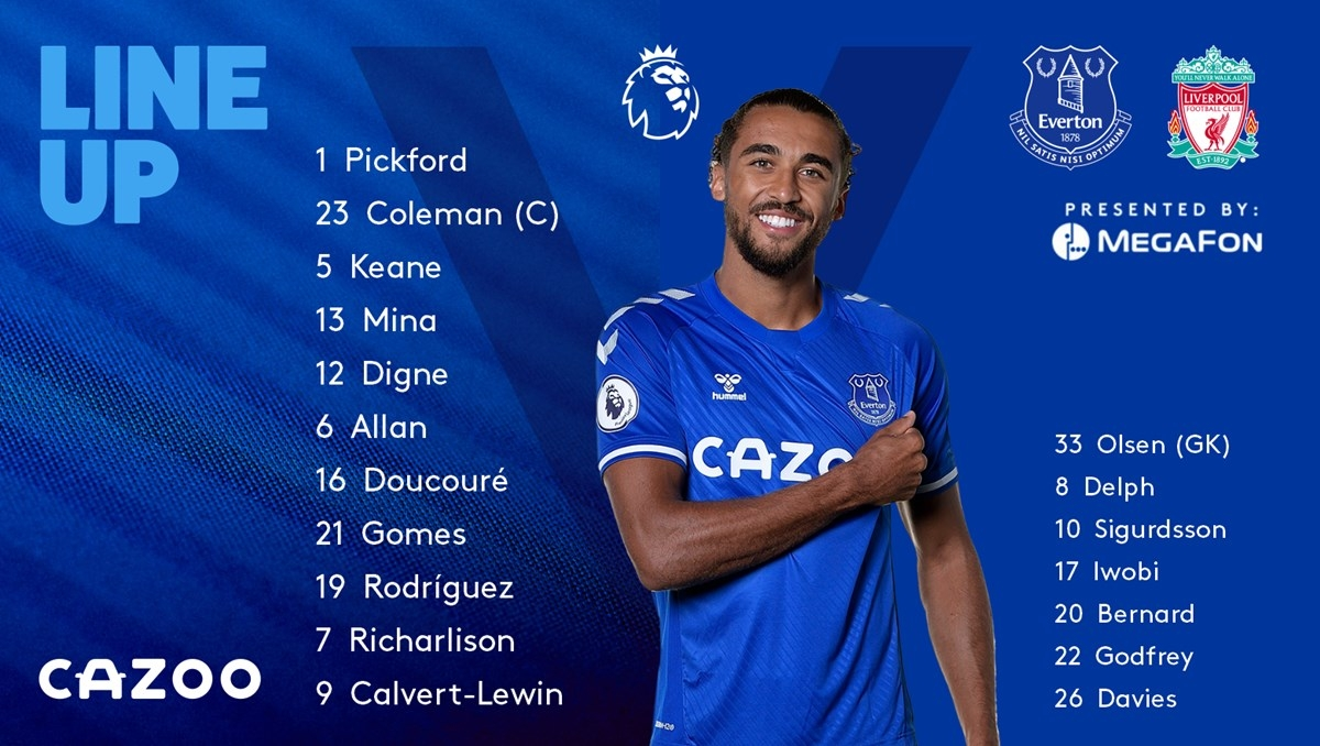 Đội hình xuất phát của Everton. (Ảnh: Everton)