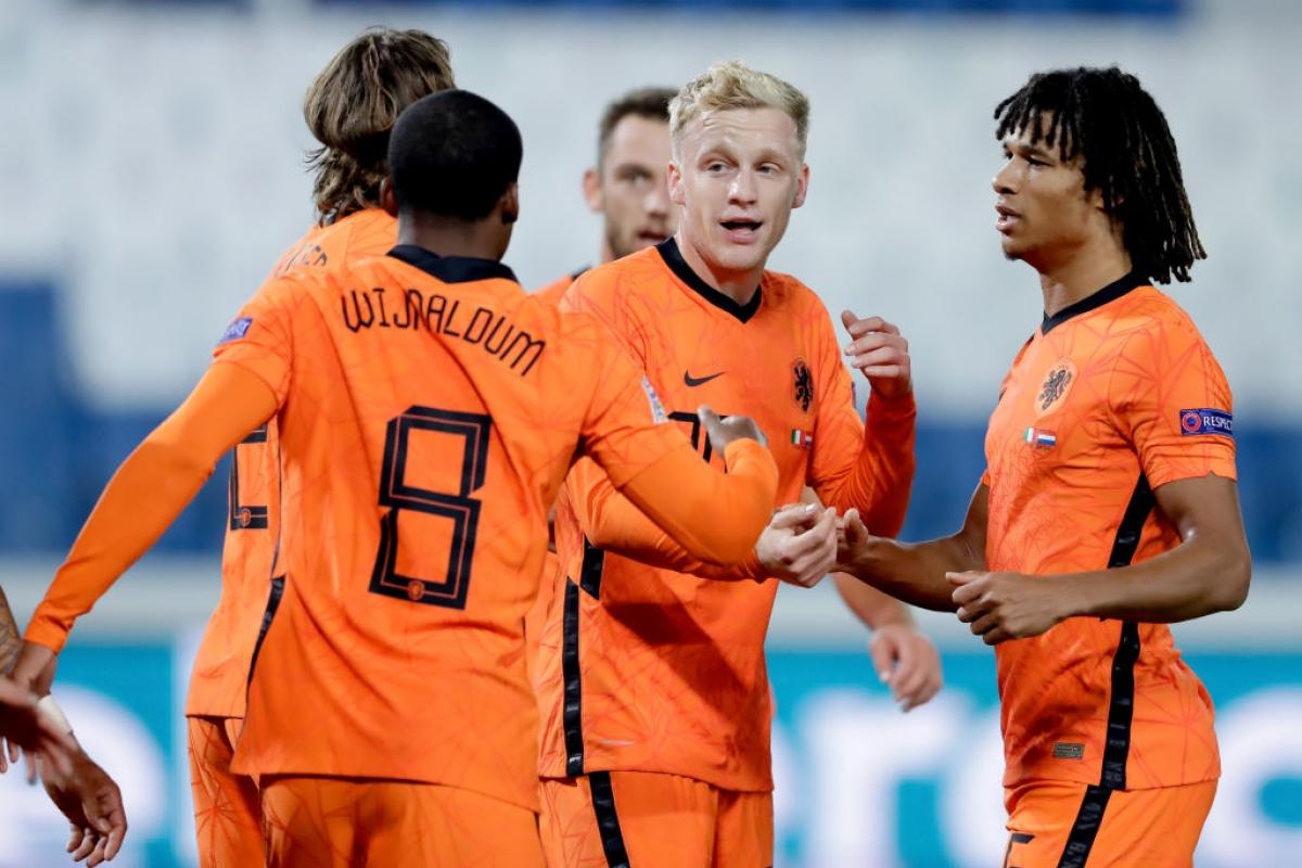Van De Beek có bàn thắng đầu tiên cho ĐTQG. (Ảnh: Getty)