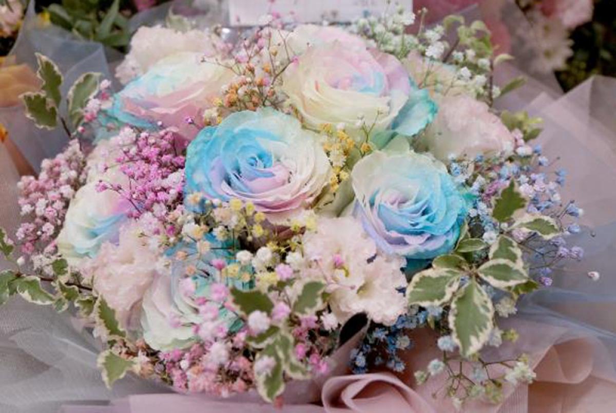 Bó hoa hồng cầu vồng được làm theo đơn đặt hàng của khách có giá 2.100.000 đồng. Hoa hồng Ecuador có nhiều loại với kích cỡ và tone màu khác nhau, giá dao động từ 130.000 - 190.000 đồng/bông. (Ảnh: VTC News)